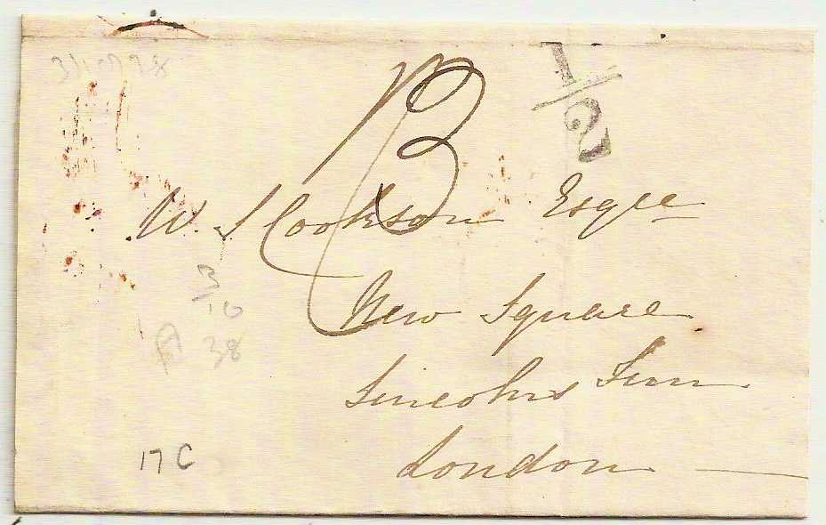 1838 ABERDEEN Entire to London w/Additional ½