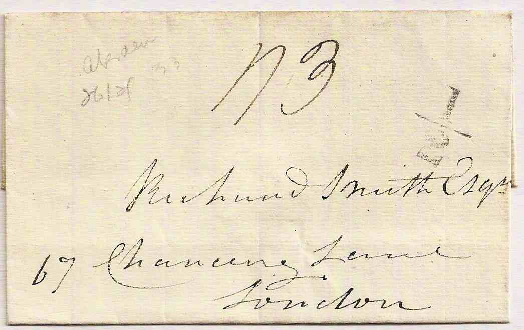 1833 ABERDEEN Additional ½ on entire charged 1/3 to London