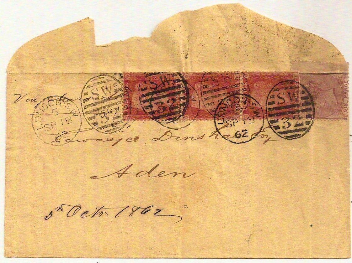 1862 QV 9d rate cover to Aden with ADEN STEAMER POINT backstamp