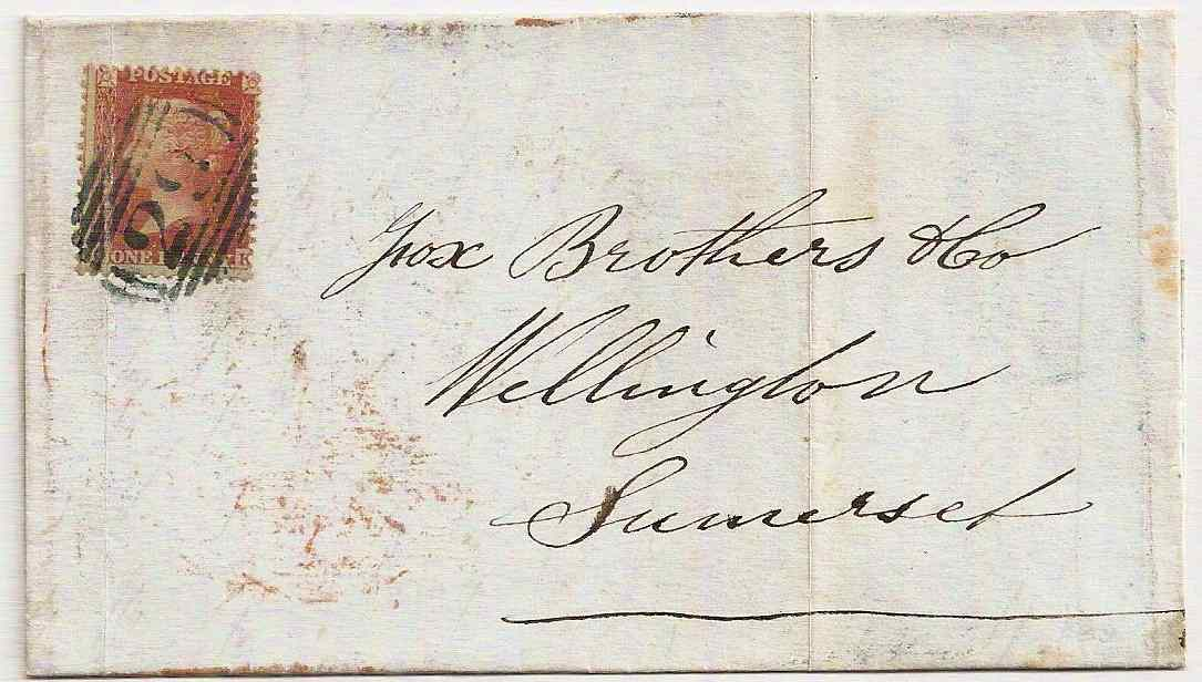 1855 QV 1d red entire w/blueish 29 numeral of Ashburton to Wellington