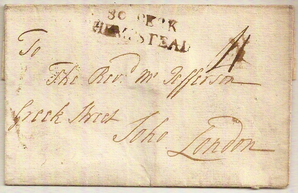 c1785 1st type 30 BERK/HEMPSTEAD outer charged 4d to Soho, London