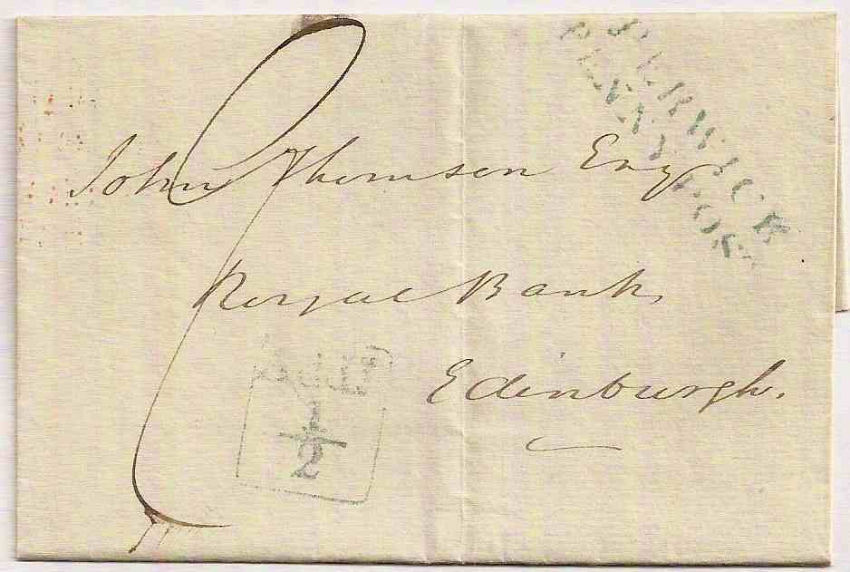 1834 BERWICK PENNY POST Additional ½ outer to Edinburgh