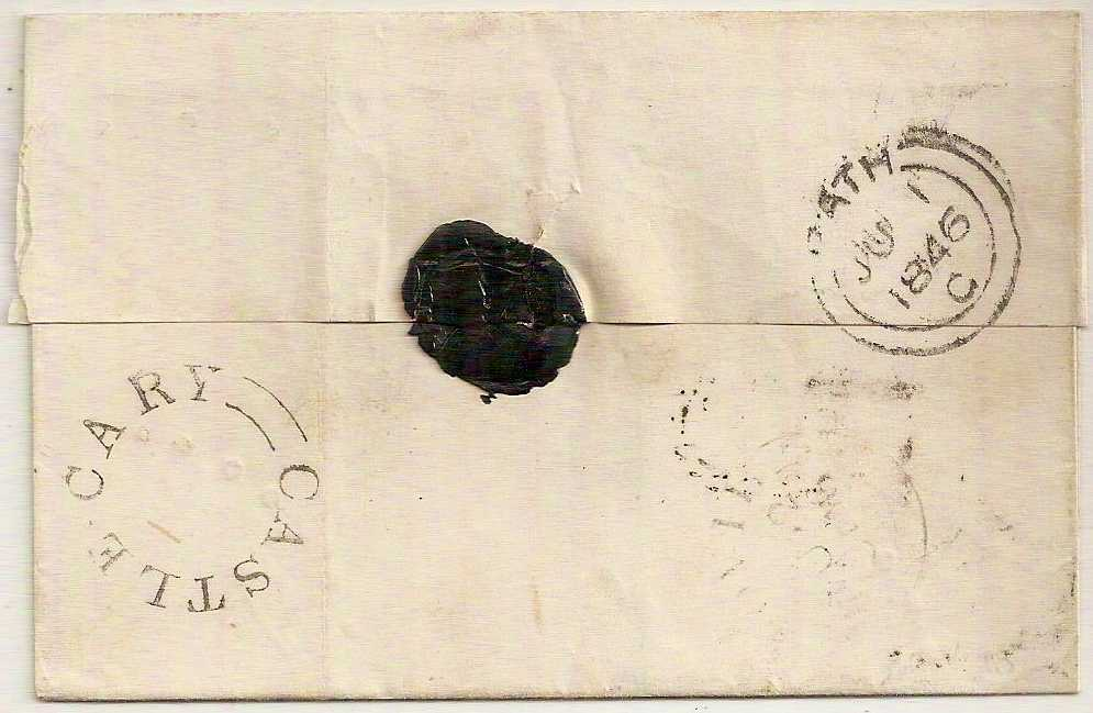 1846 CASTLE CARY undated circular on QV 1d imperf cover to Yeovil via Bath