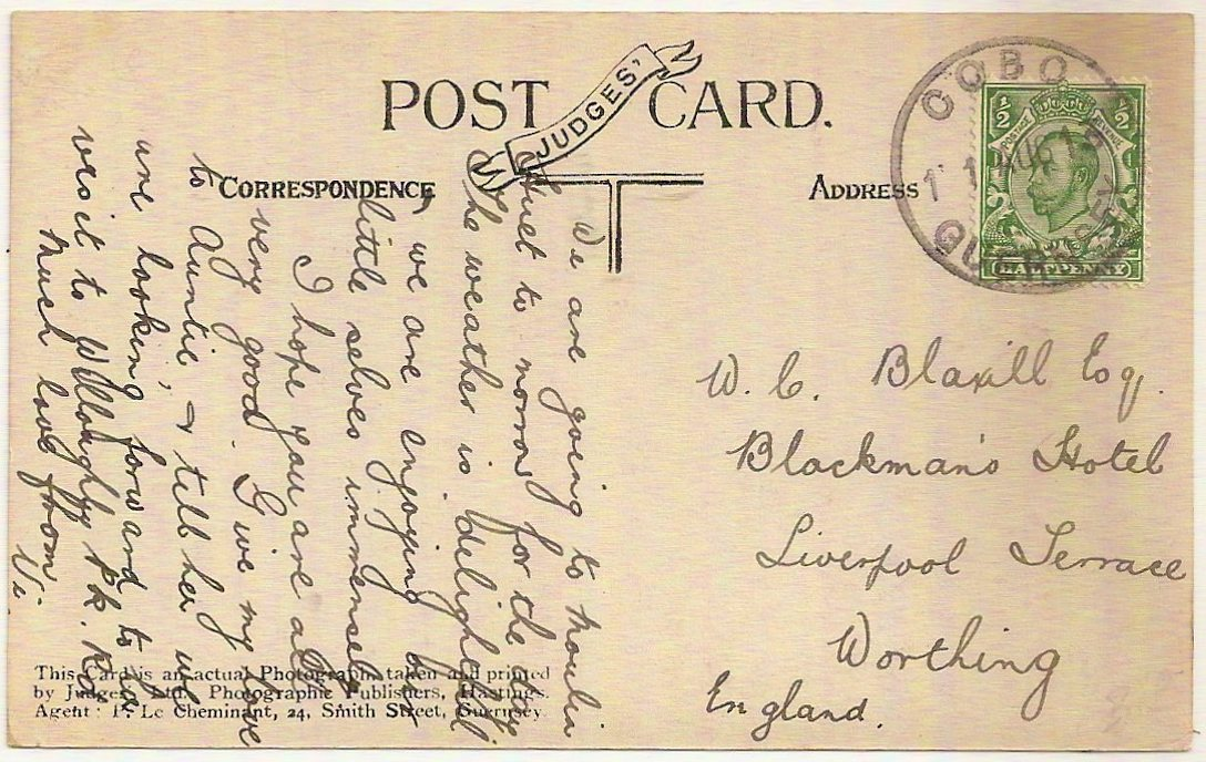 1913 Neat rubber datestamp of COBO sub-office Guernsey on Judges' Moulin Huet PPC