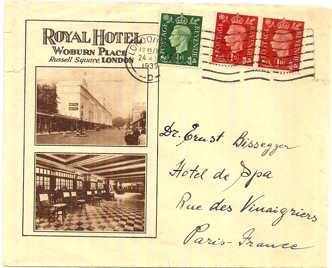 1939 Royal Hotel Woburn Place advertising env w/King George VI 2x1d & 1/2d to France