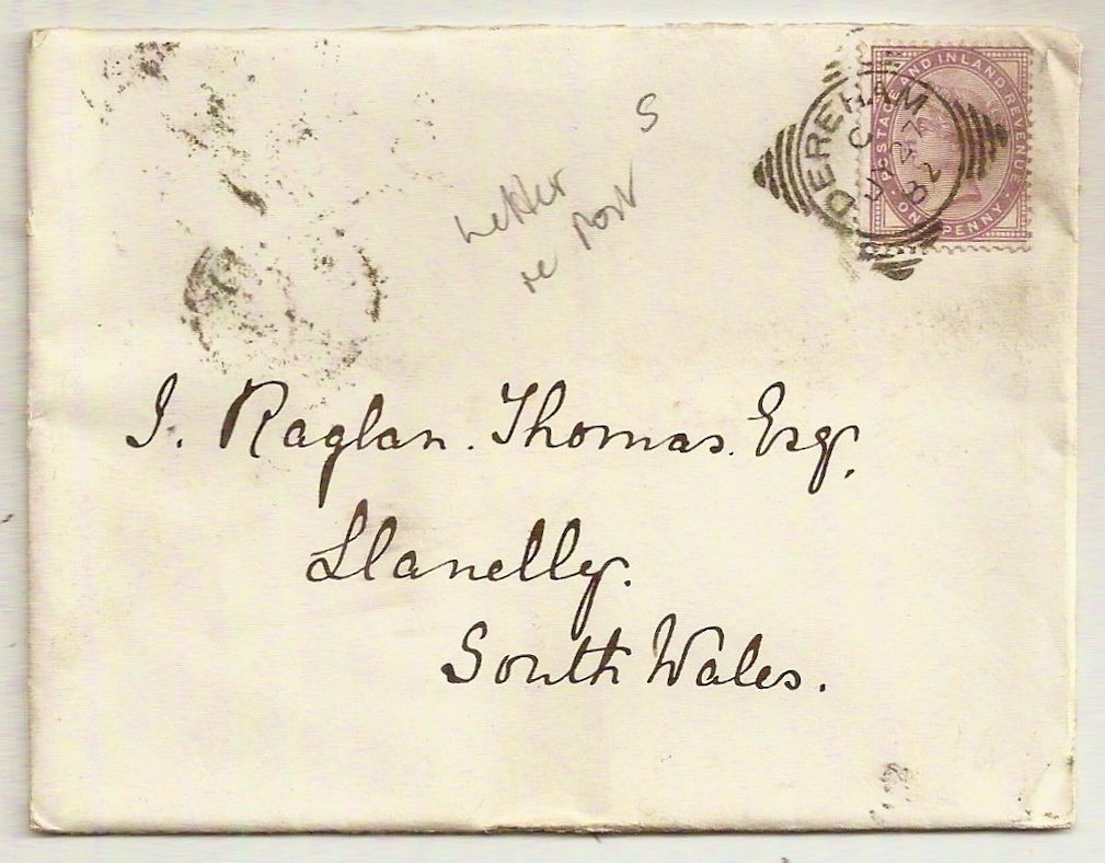 1882 DEREHAM squared circle on cover+letter to Llanelli re. post