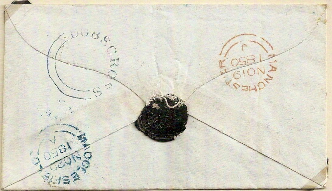 1850 Neat blue seriffed DOBSCROSS udc under Manchester QV 1d imperf cover