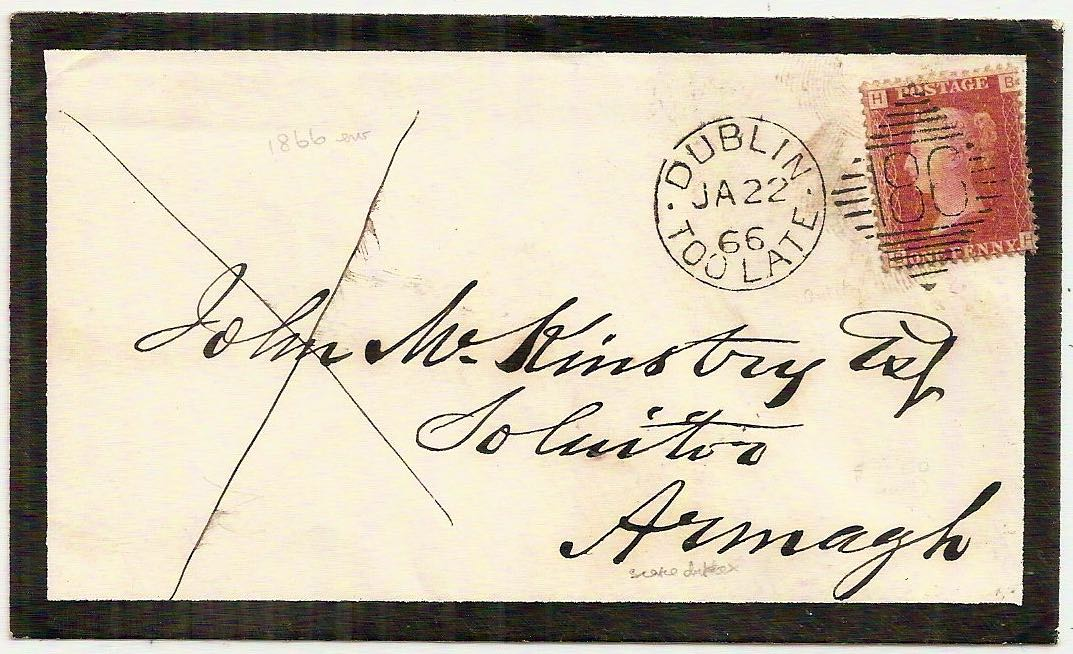 1866 DUBLIN TOO LATE 186 duplex QV 1d plate 94 mourning env to Armagh
