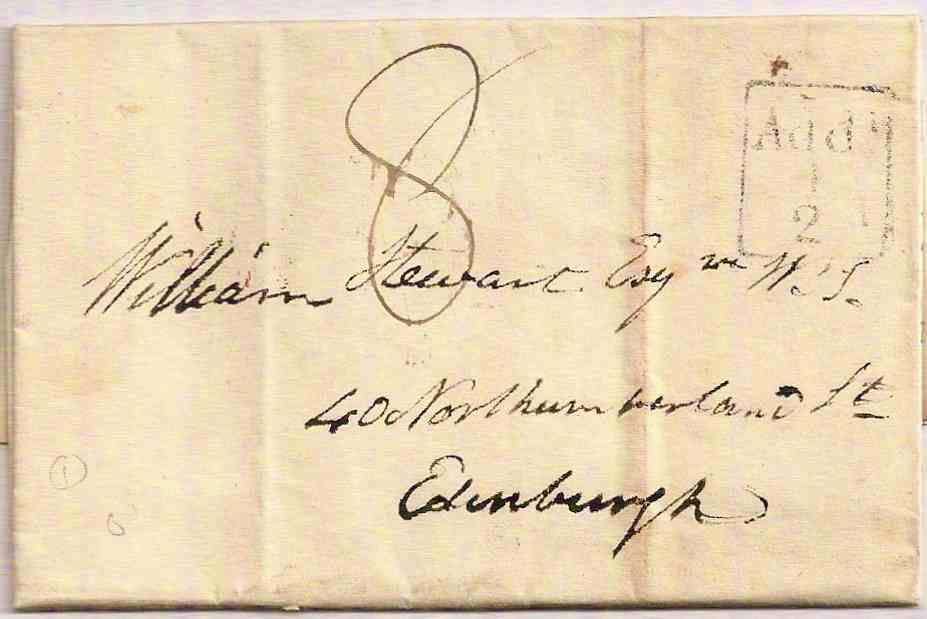 1829 DUMFRIES Additional ½ on entire charged 8d to Edinburgh