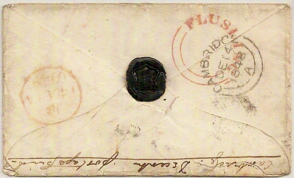 1848 Red FLUSHING seriffed udc QV 1d imperf env Cambridge to Falmouth