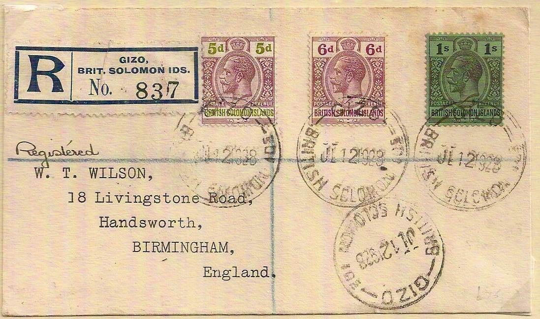 1928 GIZO BRITISH SOLOMON ISLANDS Registered cover w/George V 5d / 6d / 1/- stamps to England