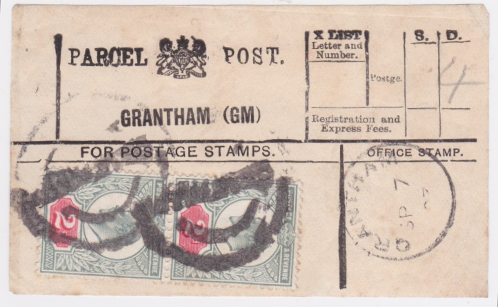 1903 KEVII 2x2d GRANTHAM (GM) Parcel Post label