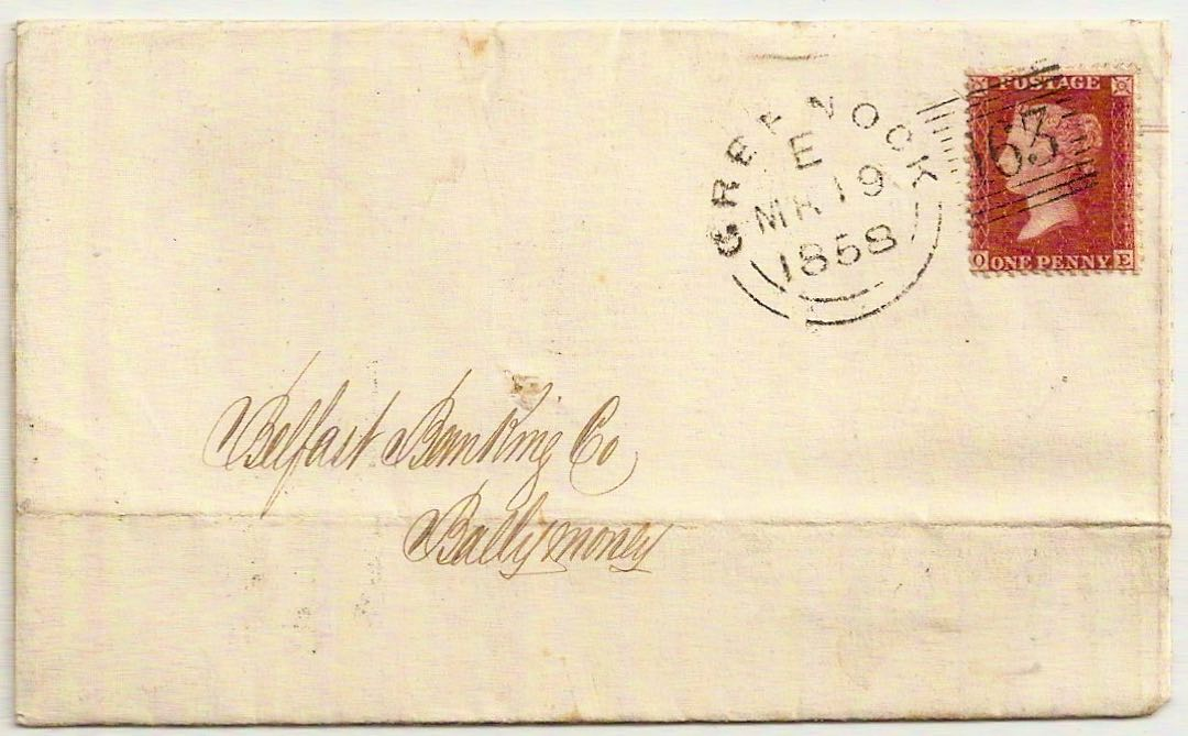 1859 Greenock Experimental 163 Type II duplex code E QV 1d star env to Belfast
