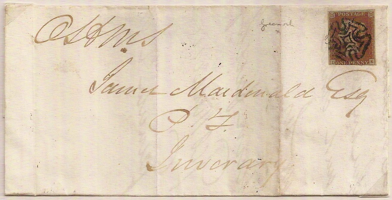 1842 Greenock Maltese Cross QV 1d imperf cover to Inverary