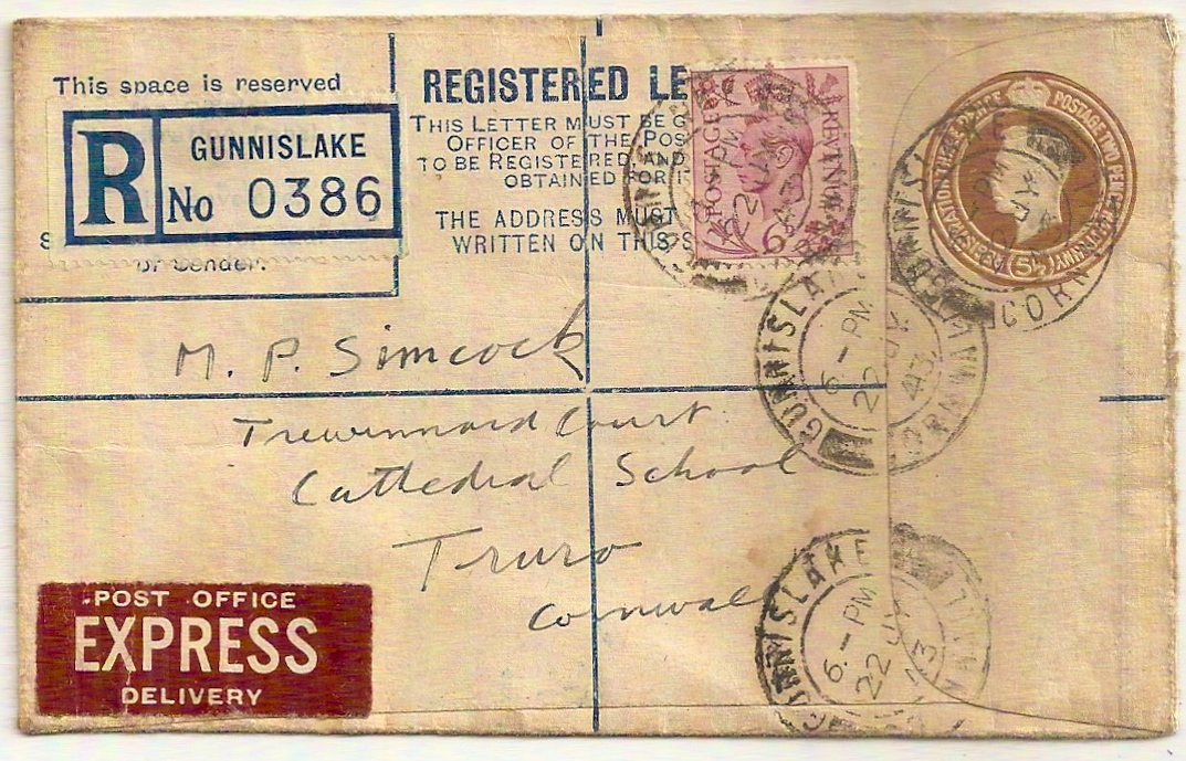 1943 King George VI 5½d Registered Letter w/additional 6d and Express label