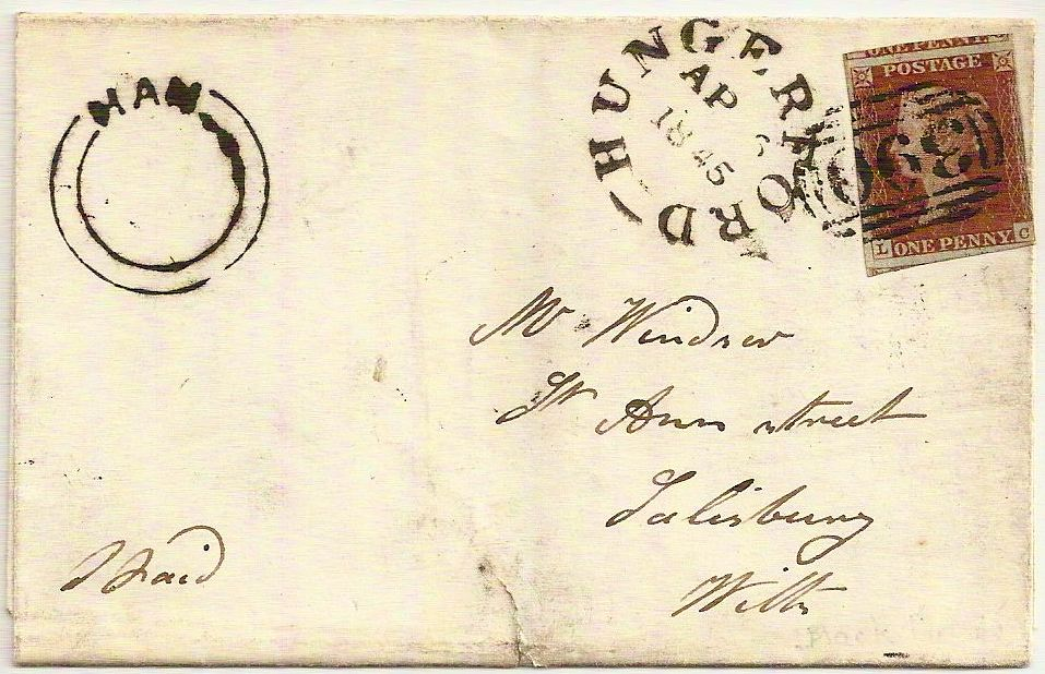 1845 Scarce HAM circular undated in black HUNGERFORD on QV 1d outer