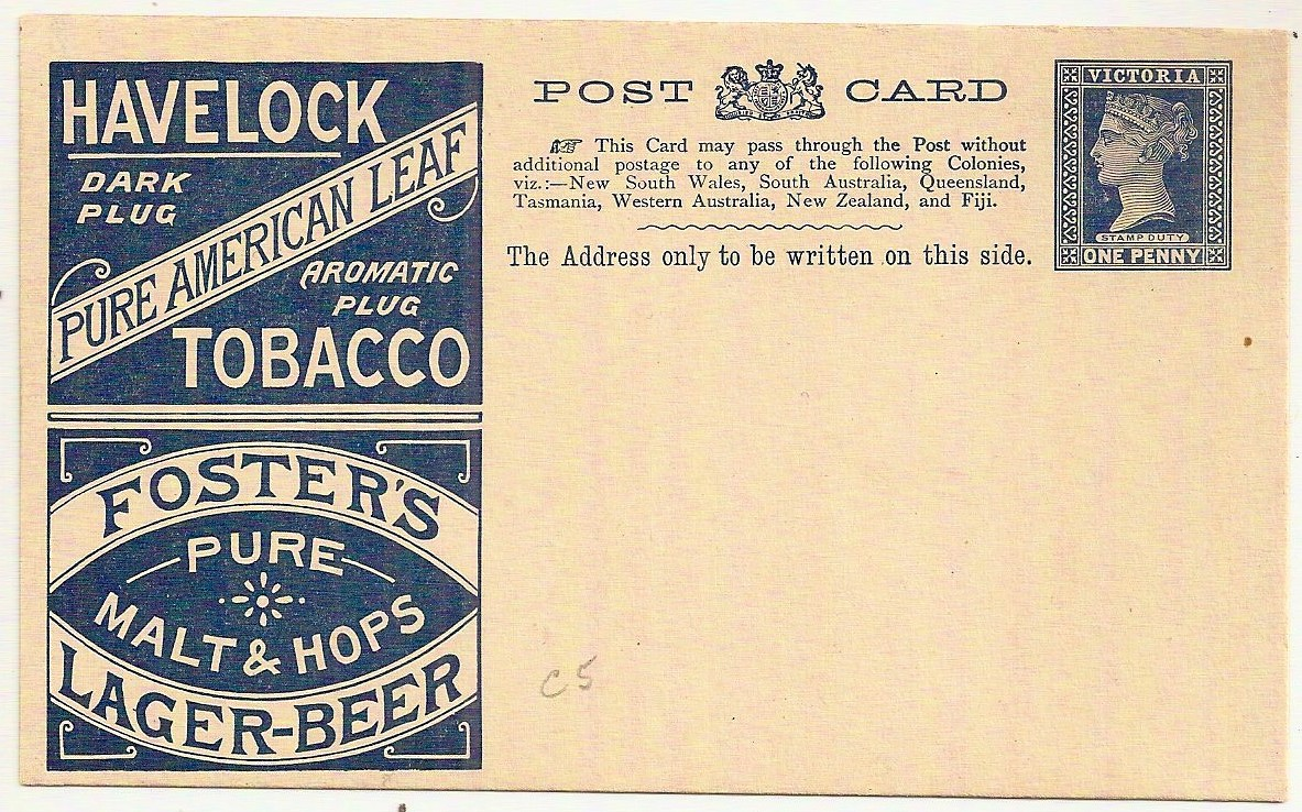 1895 Victoria Australia unused 1d blue postal stationery postcard advertising tobacco and beer
