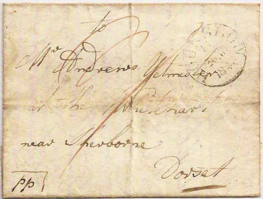 1841 HOUNSLOW Middx datestamp on Postage Paid entire to Sherborne Dorset