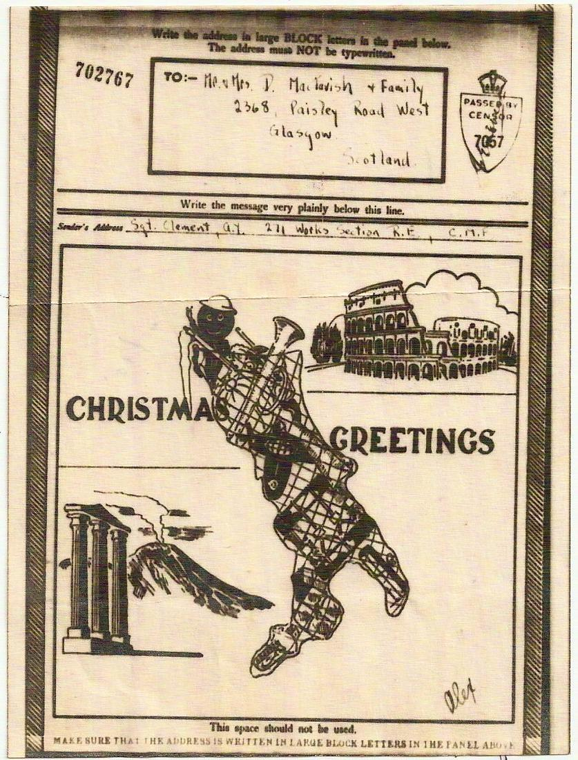 WW2 Christmas Greetings pictorial airgraph Coliseum Italy Map Figure to Glasgow