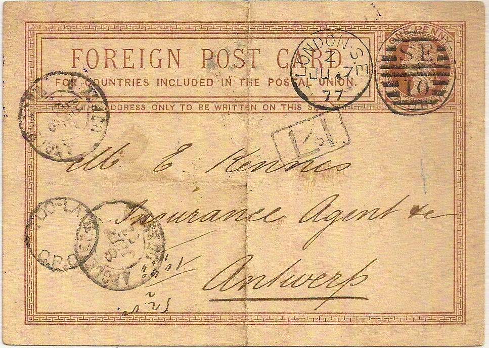 1877 L1 of LONDON SE - very scarce - on penny farthing postal stationery PC