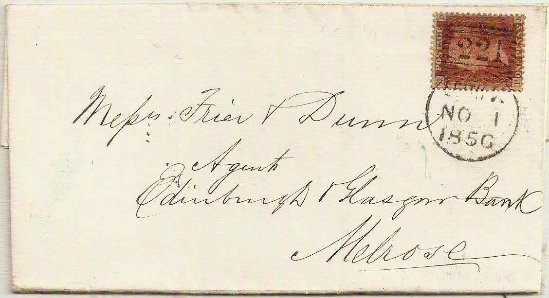 1856 Leith 3rd type Experimental Duplex 221 on QV 1d cover to Melrose