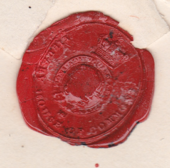 1848 Library House of Commons wax seal on QV 1d imperf env London 7 diamond to Manchester