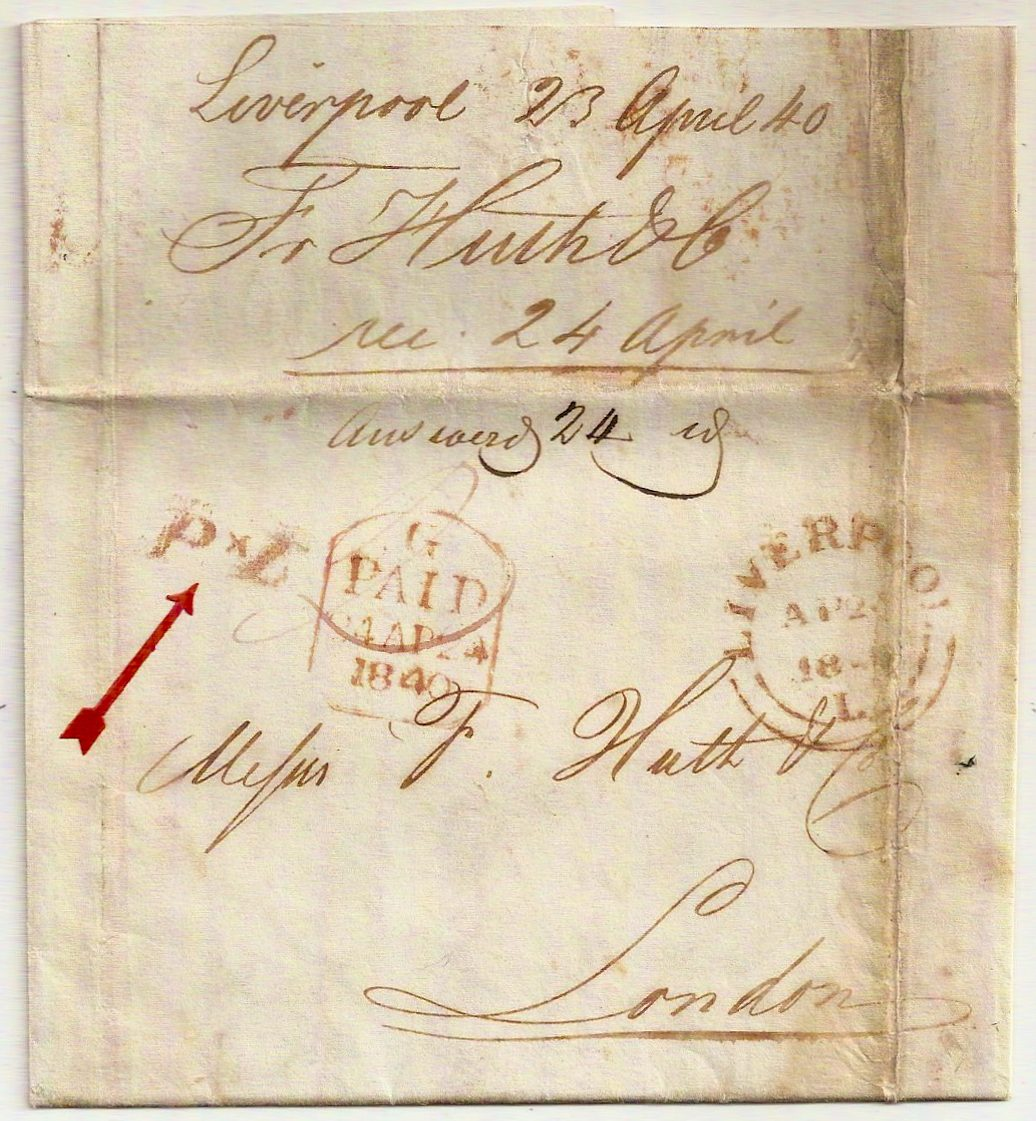 1840 LIVERPOOL L Paid entire to London w/P*L