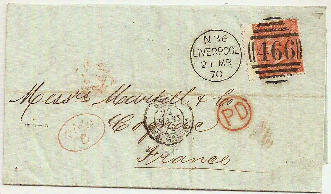 1870 Rare oval PAID B in red on QV 4d Liverpool 466 entire to France