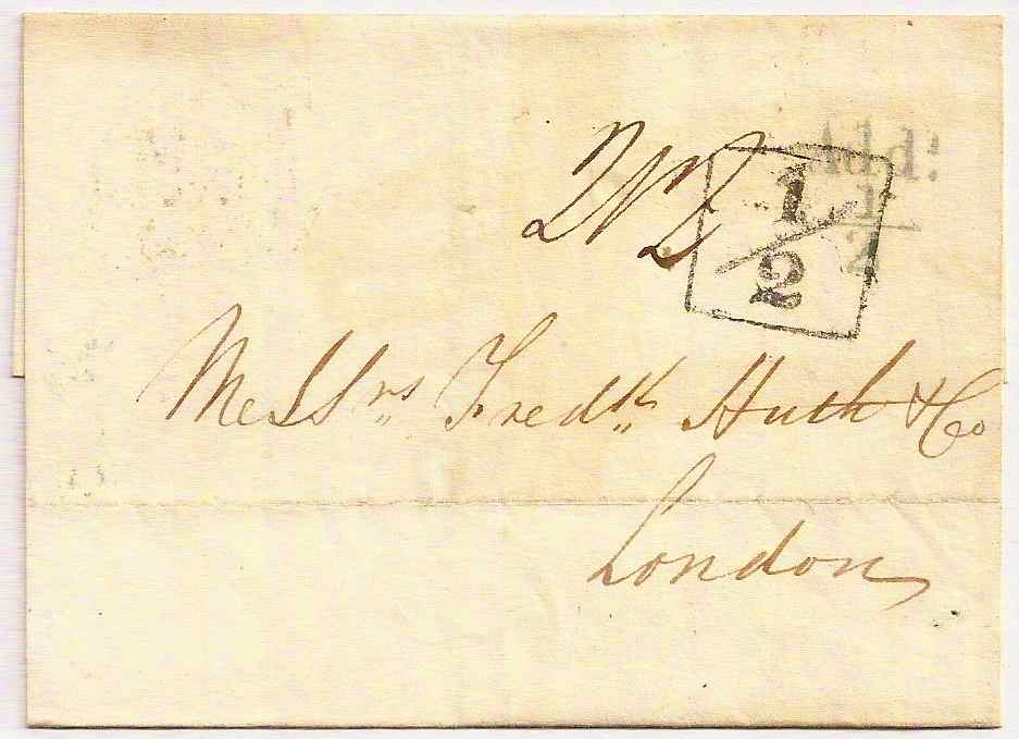 1828 London Additional ½ & Leith green additional ½ on entire to London w/S for Sunday datestamp
