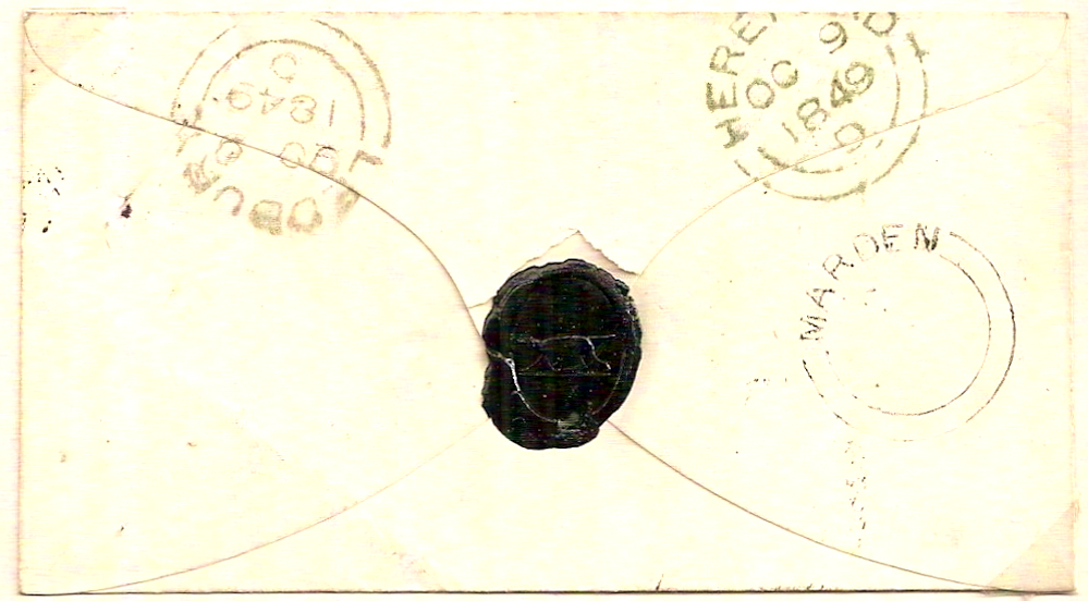 1849 Neat MARDEN udc under Hereford on QV 1d imperf cover to Ledbury