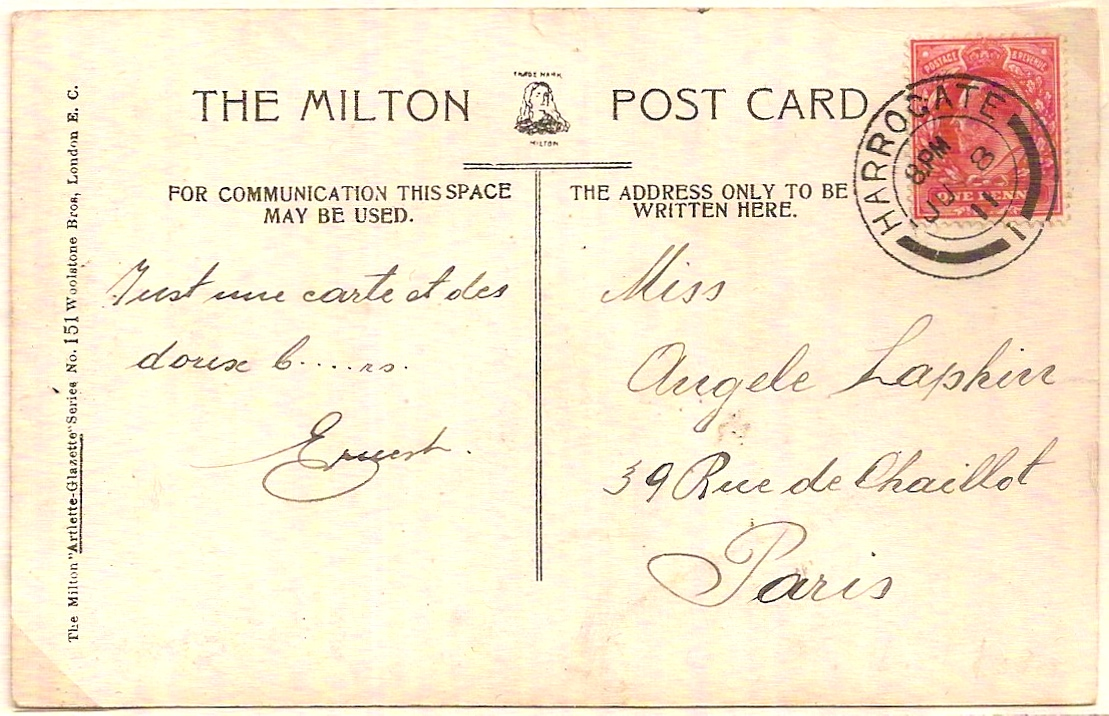 1911 Very fine KEVII 1d aniline pink SG275 on Harrogate PPC/postmark to Paris
