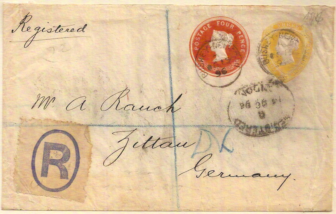 1896 QV  1½d+4d 9 florets STO cover registered to Zittau, Germany