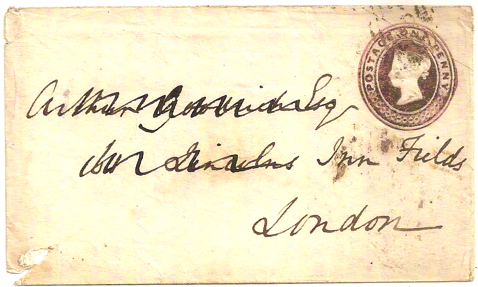 1853 COMBE udc on QV 1d Postal Stationery env to London