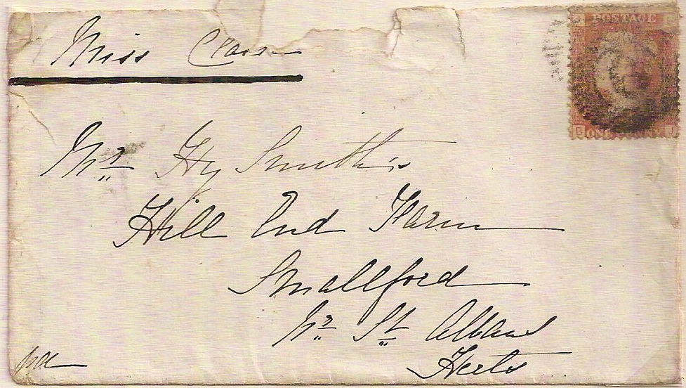 1872 Edgware Middlesex '6' in oval cancel on QV 1d cover