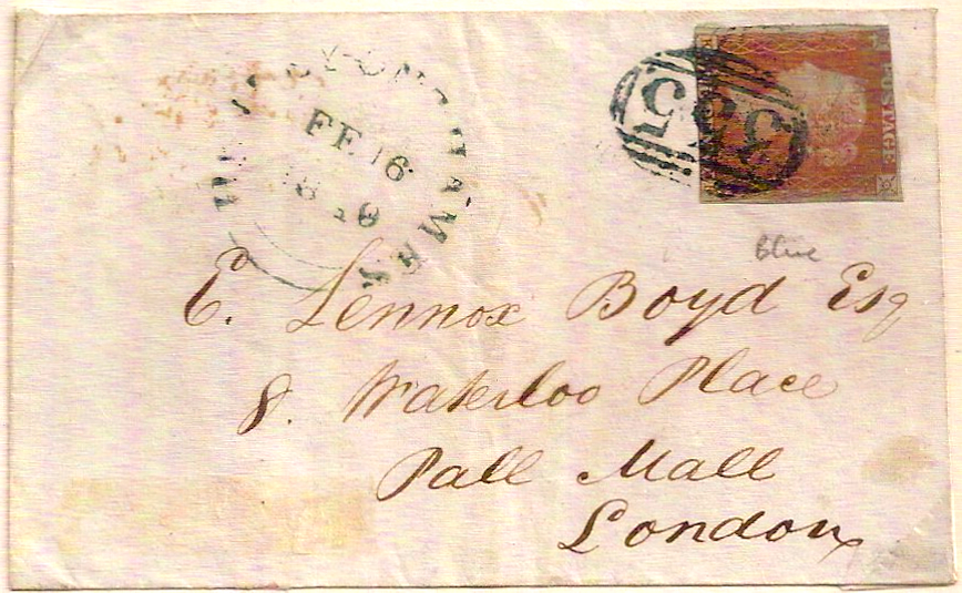 1849 HENLEY ON THAMES 355 blue green on QV 1d imperf cover to London