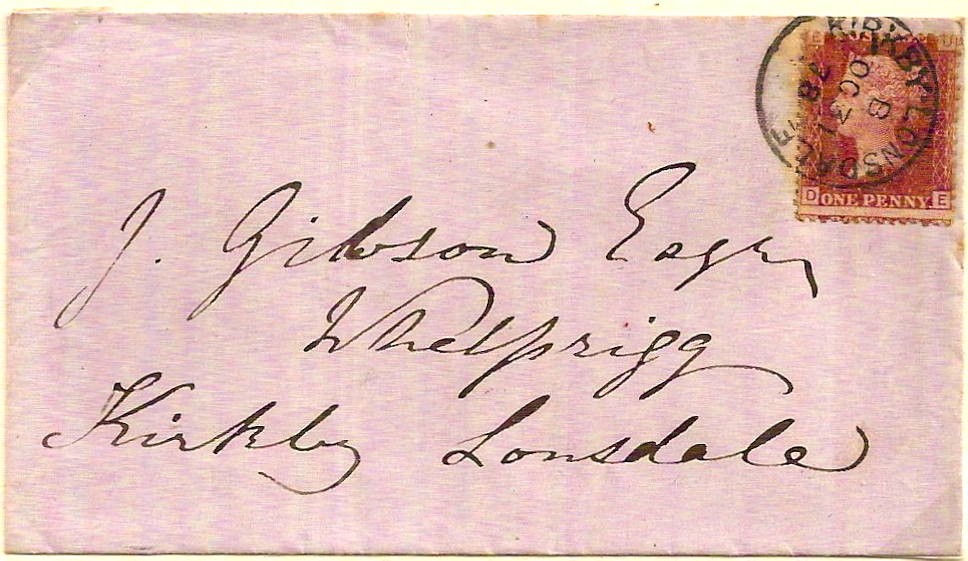 1878 Local letter w/KIRKBY LONSDALE cds only - scarce