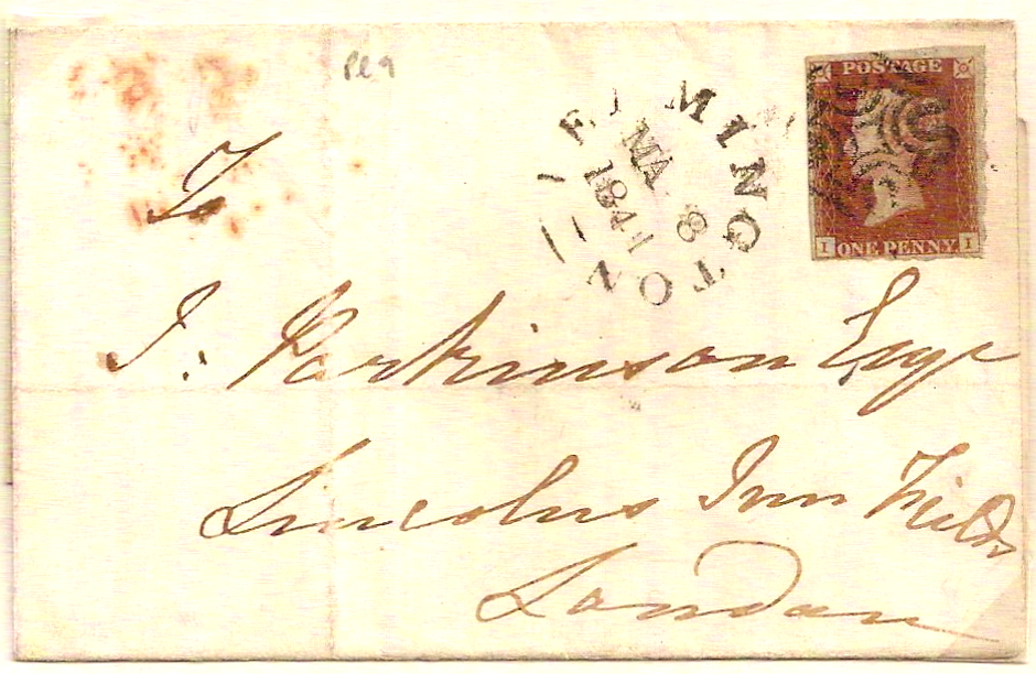 1841 Neat QV 1d pl 9 w/LEAMINGTON Maltese Cross on outer to Lincoln's Inn Fields