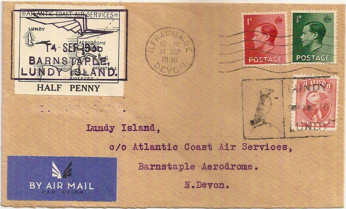1936 King Edward VIII Lundy Island Atlantic Coast Air Services cover