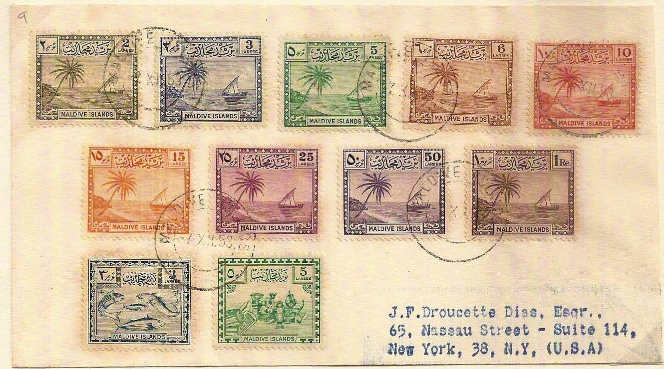 1953 Maldive Islands set (2 larees to 1 rupee) on cover to New York + 2 later definitives