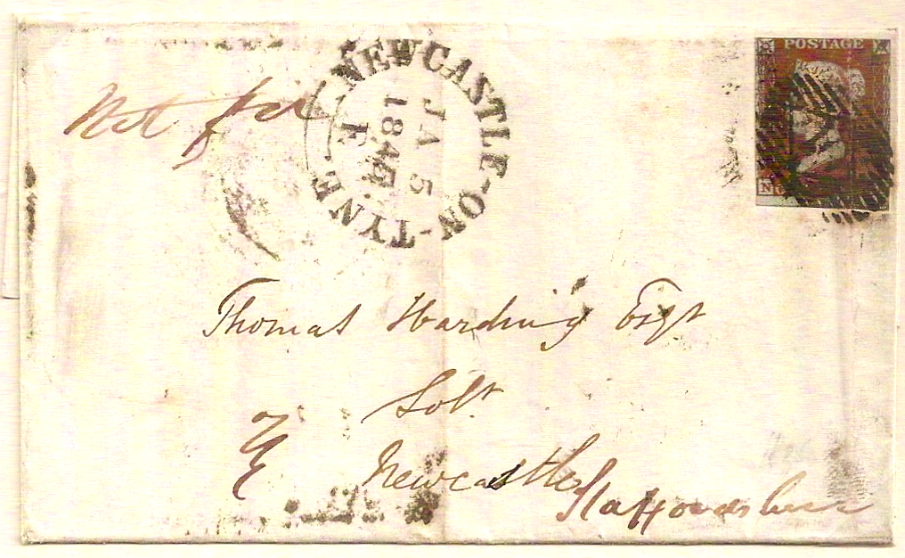 1845 NOT FOR NEWCASTLE-ON-TYNE outer w/QV 1d imperf