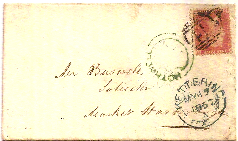 1857 Fine ROTHWELL green udc under KETTERING on cover
