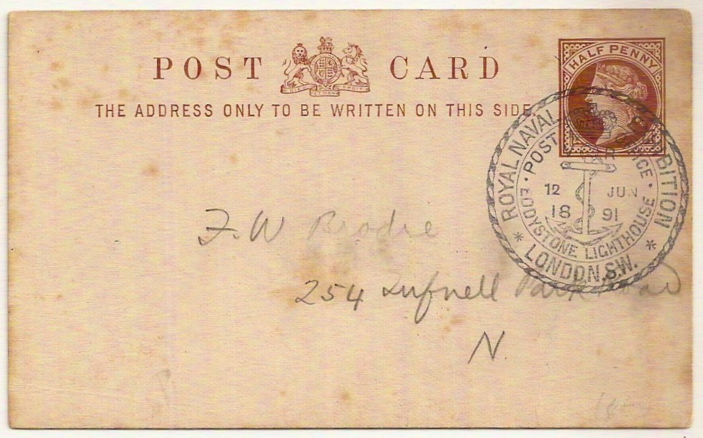 1891 Royal Naval Exhibition QV ½d special postal stationery PC w/pictorial datestamp