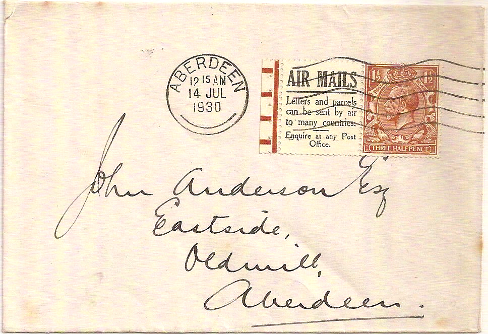 1930 King George V 1½d booklet pane w/Air Mails advert on Aberdeen cover