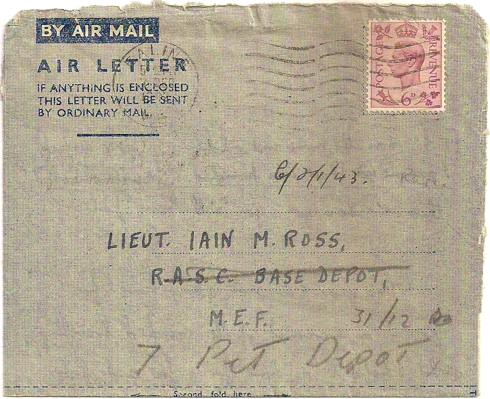 1942 First Day Airletter King George VI 6d (7 Dec) to M.E.F.