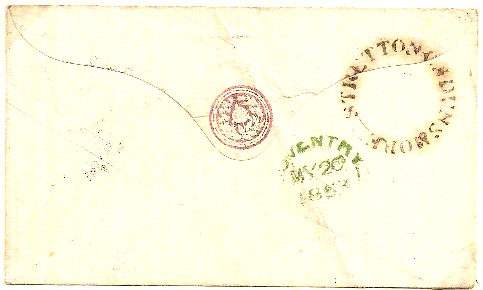 1853 STRETTON ON DUNSMORE seriffed udc under Coventry on QV 1d postal stationery envelope