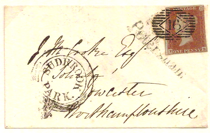 1849 Superb SUDBROOK PARK cachet w/PETERSHAM in blue cover to Towcester