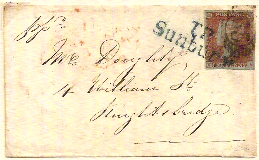1851 Superb TP SUNBURY on fine QV 1d imperf cover to Knightsbridge