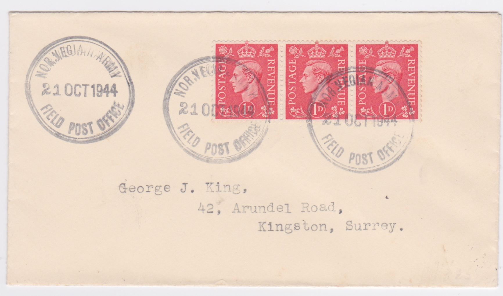 1944 King George VI 3x1d NORWEGIAN ARMY FIELD POST OFFICE cover to GB
