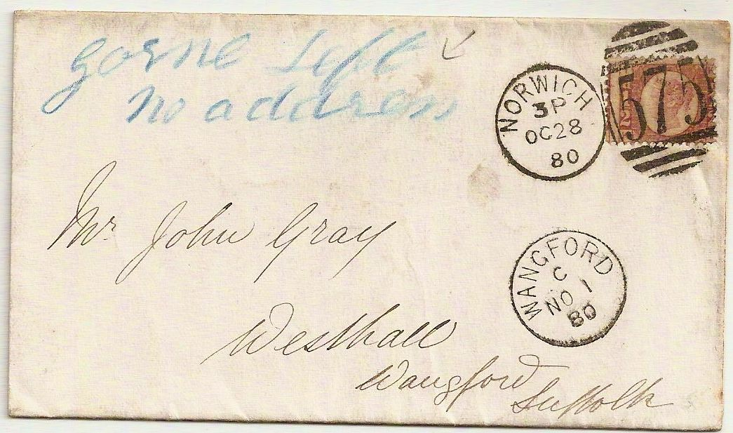 1880 Neat scarce type NORWICH 575 duplex on entire w/Gone left no address