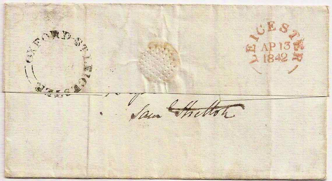 1842 OXFORD ST LEICESTER seriffed cud on QV 1d red imperf cover